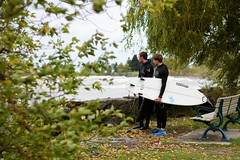 Scouts (Viv Lynch) Tags: autumn toronto ontario canada storm beach boys water rain surf waves cove surfer windy surfing greatlakes surfers scarborough bluffs lakeontario gta eastern eastend freshwater 2015 blufferspark unsalted scarboroughbluffs surferdudes