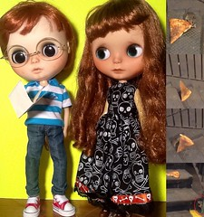 Toy-in-the-Frame Thursday; and October Blythe-a-Day #10 Monsters &# 11 What's Cookin': Peanut & Donna Discuss Pizza Rat: Monster or Folk Hero