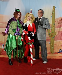 Riddler, Harley and Two Face (HarleyCyn) Tags: santa christmas holiday phoenix booth photo costume cosplay clown harley convention dccomics claus comicon con harleyquinn pcc pff 2015 kidsneedtoread phoenixfanfest
