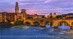 Ponte Pietra Bridge - Verona - Italy (~ Floydian ~ ) Tags: city longexposure sunset italy canon photography evening town twilight cityscape dusk le verona stony bluehour adigeriver pontepietra floydian canoneos1dsmarkiii romanarchbridge henkmeijer