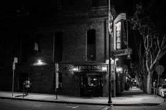 somewhere in the night (Super G) Tags: sanfrancisco street blackandwhite bw bar corner walking neon nightshot fort candid lounge sidewalk fortone nikon255