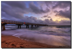 Christmas Day Morning at the Fishing Pier (Fraggle Red) Tags: ocean clouds sunrise dawn pier waves florida windy stormy atlanticocean hdr christmasday fishingpier pompanobeach 2015 7exp canonef1635mmf28liiusm browardco dphdr christmas2015