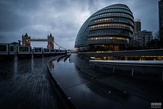 Rainy Morning over London City Hall