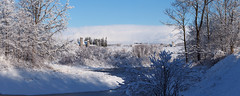 First snow - pond and farms (virgil martin) Tags: winter panorama snow ontario canada landscape pond gimp wellesleytownship waterlooregion mennonitefarm microsoftice oloneo olympusomdem5