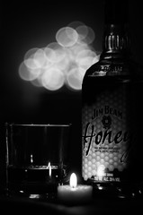 Festive Jim Beam (Pentax Gareth) Tags: christmas blackandwhite monochrome festive 50mm mono pentax spirit kentucky f14 jim beam spirits liquor honey alcohol whisky bourbon fa jimbeam wideopen k5ii