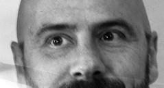 Dave's Eyes (rwl7532) Tags: portrait blackandwhite blancoynegro noiretblanc ilfordhp5 4x5 800views 600views 700views 1000views asa400 hc110b graflexsupergraphic sekonicl308s uniroller352 l110legacypro evildave29