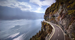 Panoramic trail at Lake Thun (VandenBerge Photography) Tags: seestrasse mountains lonelyplanet lakethun lake landscape switzerland schweiz sky alps beatenberg autumn season rocks road forest water waterscape clouds nature nationalgeographic travel trees thunersee