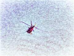 Air Rescue (Steve Taylor (Photography)) Tags: airrescue chopper helicopter art digital impressionist blue purple red newzealand nz southisland canterbury christchurch northnewbrighton texture turbulence