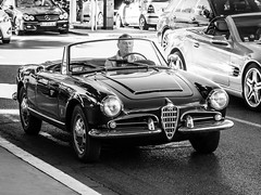 La belle Italienne (totofffff) Tags: cannes croisette france french riviera street alpes maritimes mditerrane noir blanc black white festival film olympus om d e m1 expo droite alpha romeo italienne alfa