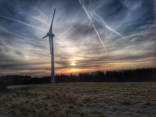 Glyndebourne wind turbine at sunrise