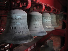Bells for memory (shaggy359) Tags: loughborough leicestershire leics loogabarooga carillon bell bells four red male voice inscription inscriptions row hang hanging musical instrument
