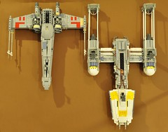 Y-wing and X-wing - Bottom view (dmaclego) Tags: lego star wars fighter model