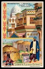 Liebig Tradecard S753 - Dwellings in Arabia and Asia (cigcardpix) Tags: tradecards advertising ephemera vintage liebig chromo architecture