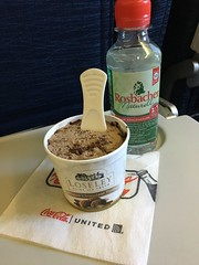 Ice Cream & Water (sfPhotocraft) Tags: economy united unitedairlines fraewr 2016 icecream chocolateicecream water waterbottle napkin dessert food