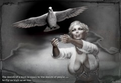 Equal desires ... (Iris Okiddo) Tags: iris okiddo dove pigeon flying fly r kelly black white breasts boobs blond smile air sky clouds