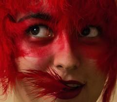 Autorretrato2 (nidiaalvarez16) Tags: autorretrato casa eisv vigo escuela imagen sonido divertido funny angry bird red rojo plumas pluma boca antifaz pintura reflex nikon 2016