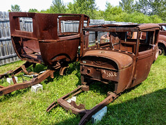 Rust 4 Sale (J Wells S) Tags: rust rusty crusty junk abandoned modeltford modelaford viintagecars michelscollisionrestoration alanson michigan fence
