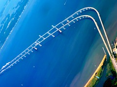 Aerial View of the Chesapeake Bay Bridge (scattered1) Tags: road bridge water island bay kent maryland aerial annapolis curve chesapeake span chesapeakebay 2015 chesapeakebaybridge kentisland