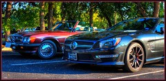 old and new.... (Baja Juan) Tags: cars coffee happy mercedes benz san driving texas sunday convertible event topless slider baja antonio hdr sls roadster hss