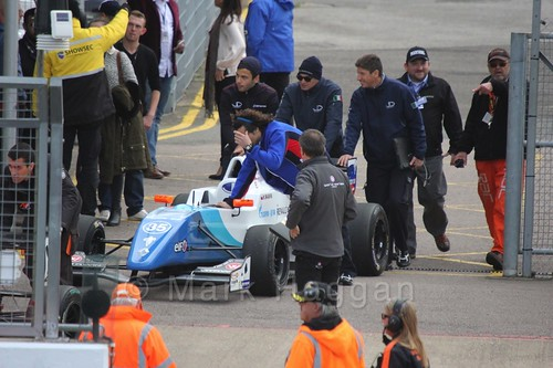 Matevos Isaakyan heads to the grid for the first Renault 2.0 race at Silverstone 2015