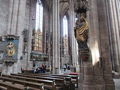 Madonna on a column and pews, St. Sebald Church, Nuremberg, Germany (Paul McClure DC) Tags: sculpture church architecture germany bayern deutschland bavaria nuremberg franconia historic franken nrnberg may2015
