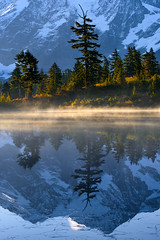Mt Shuksan reflected in Picture Lake (Yanbing Shi) Tags: morning autumn mist mountain reflection fall fog sunrise baker mtbaker northcascades northerncascades picturelake