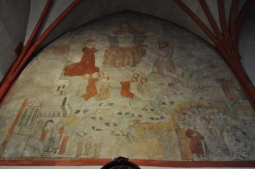 Fresque du Jugement Dernier, chapelle del'Hôpital Saint-Nicolas (1447), Kues, commune de Bernkastel-Kues, landkreis de Bernkastel-Wittlich, Rhénanie-Palatinat, Allemagne.