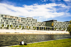 river side Spree (Kai-Ming :-))) Tags: blue sky cloud white berlin water grass river germany sony spree kaiming ilce7m2