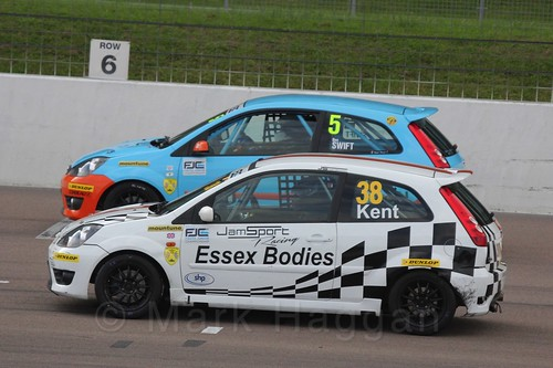 Ben Swift and Lewis Kent get ready for Race 2 at the BRSCC Fiesta Junior Championship, Rockingham, Sept 2015