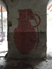 Big Red Bomb (kocore - street art) Tags: streetart muro art lines wall stencil weapon graffito murales stencilism