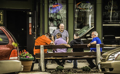 SMOKE BREAK AT THE BLAZING SADDLE (akahawkeyefan) Tags: windows signs men cars bar bench guys smoking eastdesmoines davemeyer blazingsaddle