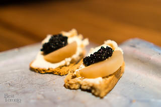 Sturgeon mousse and caviar on buckwheat toast | Port City Royal (Saint John, NB)