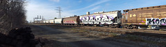 quickage-20151117_122022-20151117_122026 v2 (collations) Tags: toronto ontario graffiti glare gh wheaties hoppers freights wholecar ghcrew benching fr8s