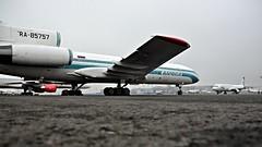 Tupolev Tu-154M (Nick Aviator) Tags: weather airplane grey airport aircraft aviation apron spotting dme tupolev slouds tu154 domodedovo uudd