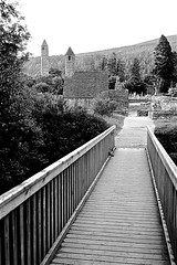 Glendalough, Co. Wicklow (Frank Milling) Tags: ireland irish white black film saint st architecture 35mm kevin fuji s glendalough 25 fujifilm christianity agfa wicklow apx monastic klasse agfapan