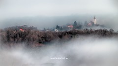 Neither in heaven nor on the earth (malioli) Tags: house church misty fog clouds rural landscape europe village hill foggy croatia scene hilly hdr hrvatska