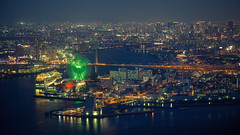 Osaka Cityscape (Laser Kola) Tags: laserkola lasseerkola osaka cityscape nightview nightlife nightphotography nightlights japan 大阪市 2014 ferriswheel ferriswheelosaka travel metropolis 100mm 100m canonef100mf2 canon5dmarkii canon5dmkii colorful colourful bridge widescreen cinematic cinematographer bladerunner tenpozan tempozan