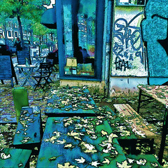 autumn (j.p.yef) Tags: peterfey jpyef germany city hamburg streetlife streetcafe seasons autumn tables leaves people digitalart zeitraum cafe