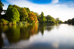 Autumn reflection (judethedude73) Tags: water trees colours sky still leaves