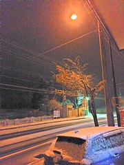Unexpectedly Snowing Tonight (sjrankin) Tags: 23october2016 edited yubari hokkaido japan hdr snow night streetlight street