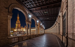 Serie Privilegios de Sevilla... (Explored 25/11/2016) (protsalke) Tags: architecture sevilla lights plazadeespaa urban city cityscape night colores colors andalucia bluehour arcs colonnade spain nikon nightscape nocturna urbana beautiful longexposure