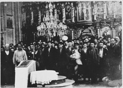 #Serbian civilians who are being forced to convert to Catholicism by the Ustaa regime stand in front of a baptismal font in a Serbian Orthodox church before being massacred by the Ustae in Glina, Independent State of Croatia, July 30th, 1941 [1400*1010] (Histolines) Tags: histolines history timeline retro vinatage serbian civilians who being forced convert catholicism by ustaa regime stand front baptismal font orthodox church before massacred ustae glina independent state croatia july 30th 1941 14001010 vintage dh historyporn httpifttt2fjp2ul