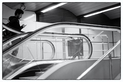 Cutting Point (lucas2068) Tags: blackandwhite blancoynegro byn bw man hombre stairs escalator intersection interseccion