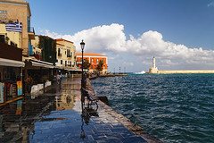 Chania_07_25102016-1123 (john houv) Tags: chania crete mediterranean oldharbour oldharbor lighthouse reflection