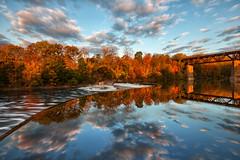 Autumn Reflection (Brian Krouskie) Tags: paris ontario penman dam sky cloud reflection autumn fall colour trees train tressle bridge outdoor landscape architecture water nikond800 nikon173528