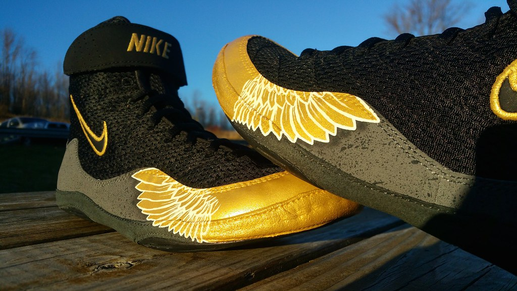 on sale e18f2 e89f4  quot Golden Eagle quot  custom Inflicts (UndefeatedCustoms) Tags  nike  nikeinflicts nikewrestling wrestling