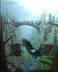 HOWLING FJORD 2 (tomas491) Tags: oilpainting tomasljunggren fairytale fantasy mountains bridge eagle rapid flowers houses trees