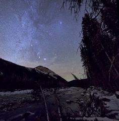 November Orion 1 Panorama (John Andersen (JPAndersen images)) Tags: alberta astronomy elbowriver milkyway night orion pleiades sky snow stars taurus wilderness
