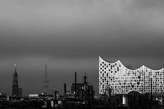 KLDE9112_S1 (Konrad Lembcke) Tags: hamburg kleiner grasbrook elbphilharmonie panorama black white monochrome schwarz weiss urban industrial city skyline germany silvermax travel