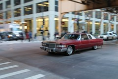 Fire (Flint Foto Factory) Tags: chicago illinois urban city autumn fall november 2016 downtown loop monroe wells intersection 1976 cadillac coupe deville red 2door white landau vinyl top moving motion inmotion classic american luxury car morning rushhour traffic worldcars